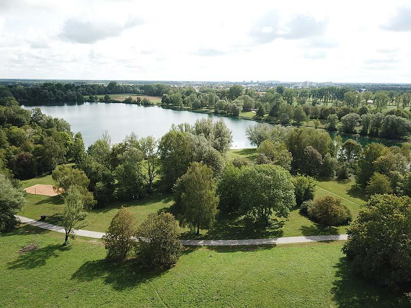 FKK in München: Feldmochinger See - Luftaufnahmen aus dem